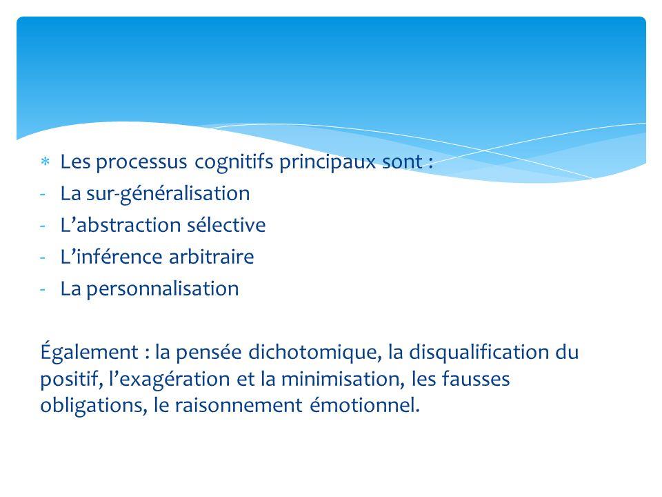 Les processus cognitifs principaux sont : -La sur-généralisation -Labstraction sélective -Linférence arbitraire -La personnalisation Également : la pe