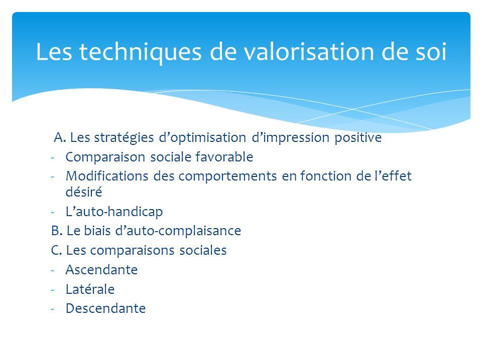 A. Les stratégies doptimisation dimpression positive -Comparaison sociale favorable -Modifications des comportements en fonction de leffet désiré -Lau