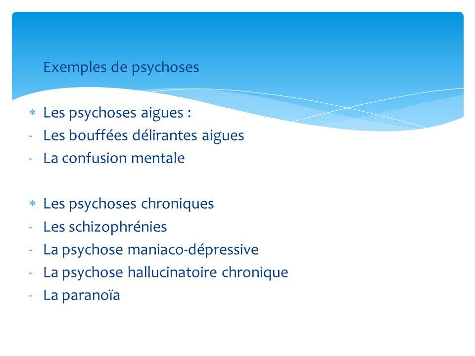 Exemples de psychoses Les psychoses aigues : -Les bouffées délirantes aigues -La confusion mentale Les psychoses chroniques -Les schizophrénies -La ps