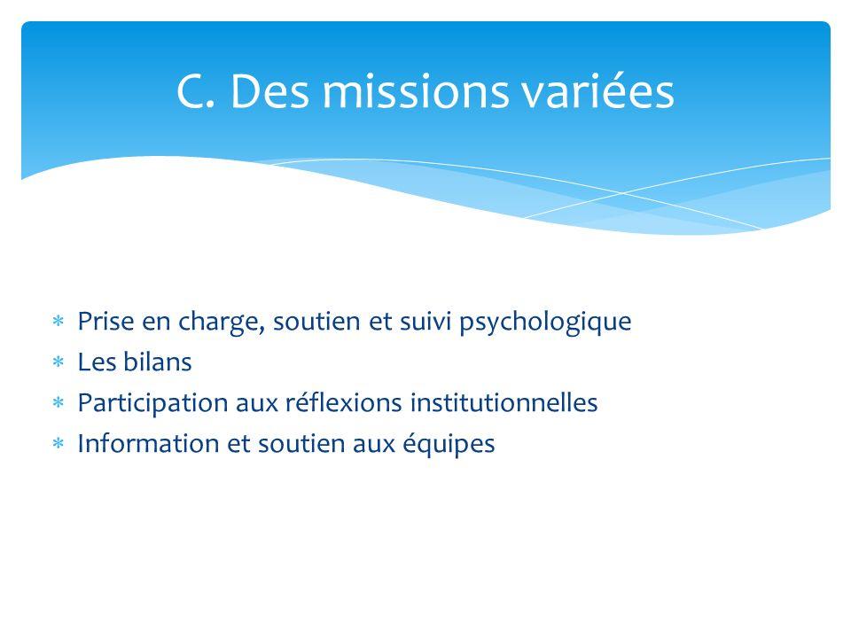 Prise en charge, soutien et suivi psychologique Les bilans Participation aux réflexions institutionnelles Information et soutien aux équipes C. Des mi