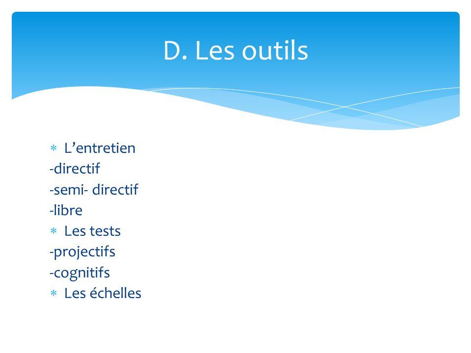 Lentretien -directif -semi- directif -libre Les tests -projectifs -cognitifs Les échelles D. Les outils