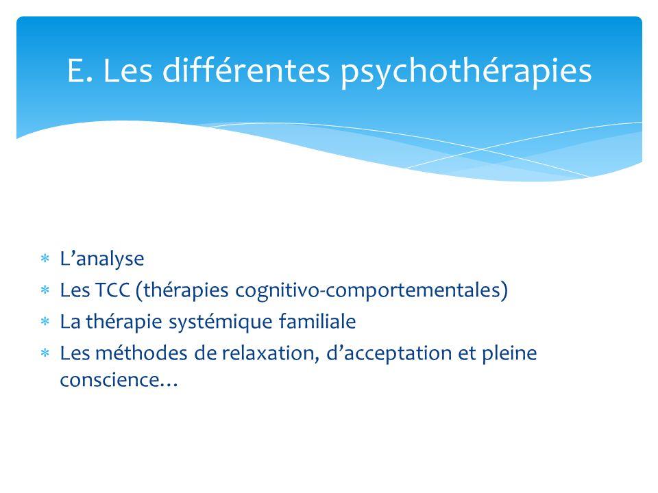 Lanalyse Les TCC (thérapies cognitivo-comportementales) La thérapie systémique familiale Les méthodes de relaxation, dacceptation et pleine conscience