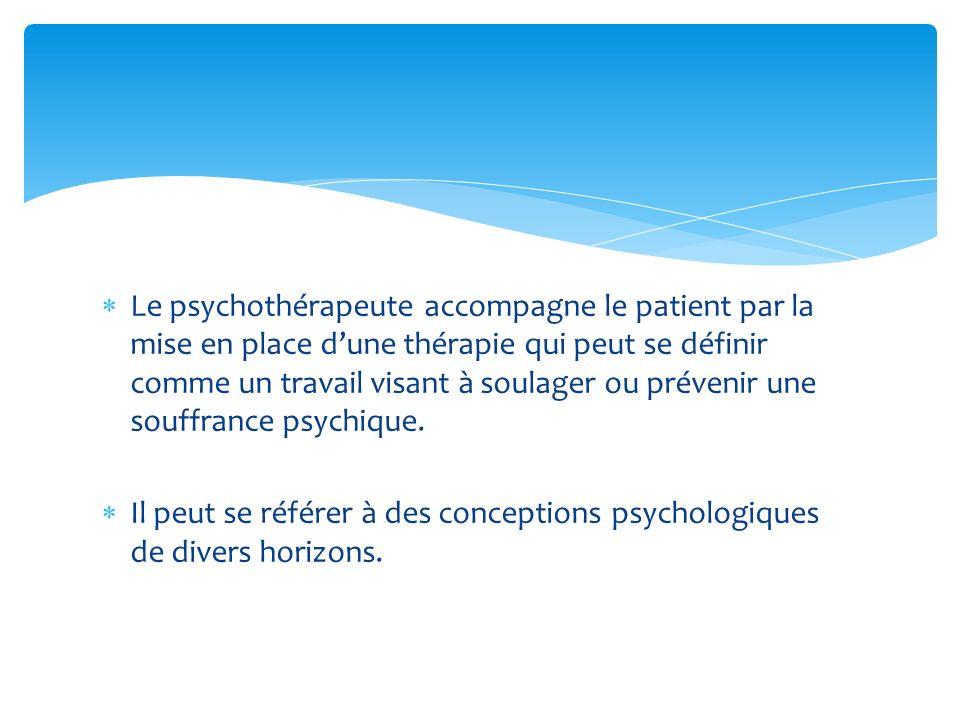 Le psychothérapeute accompagne le patient par la mise en place dune thérapie qui peut se définir comme un travail visant à soulager ou prévenir une so