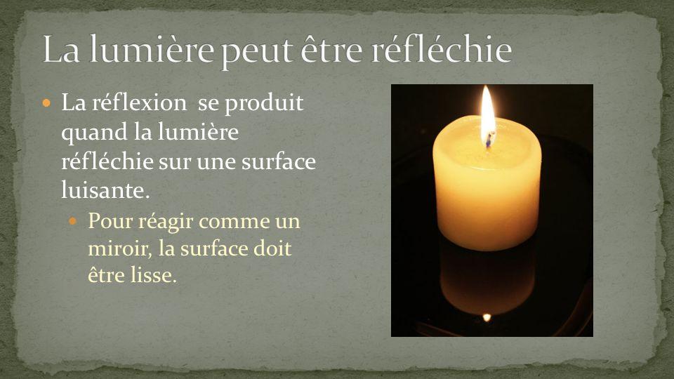 La réflexion se produit quand la lumière réfléchie sur une surface luisante. Pour réagir comme un miroir, la surface doit être lisse.