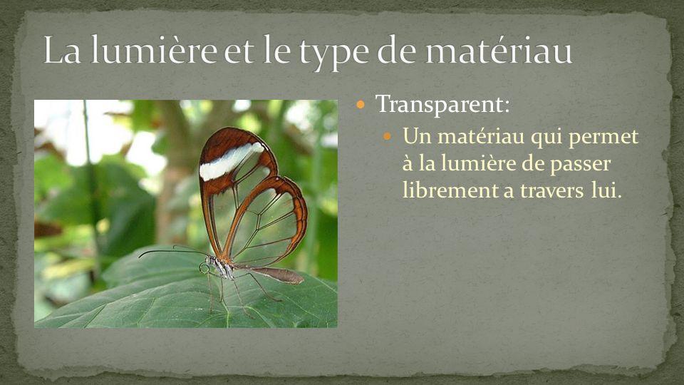 Transparent: Un matériau qui permet à la lumière de passer librement a travers lui.