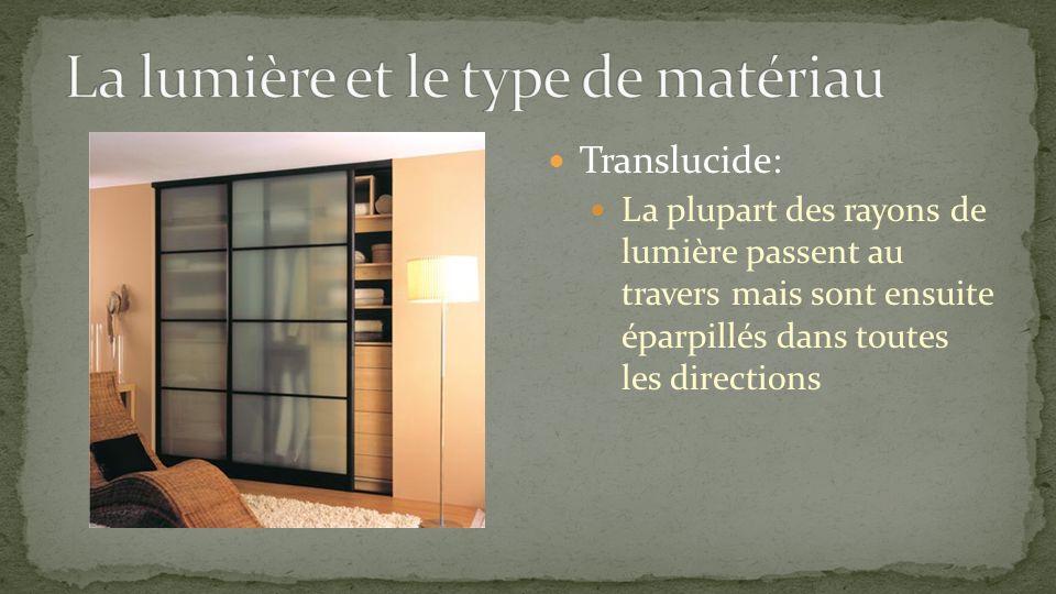 Translucide: La plupart des rayons de lumière passent au travers mais sont ensuite éparpillés dans toutes les directions