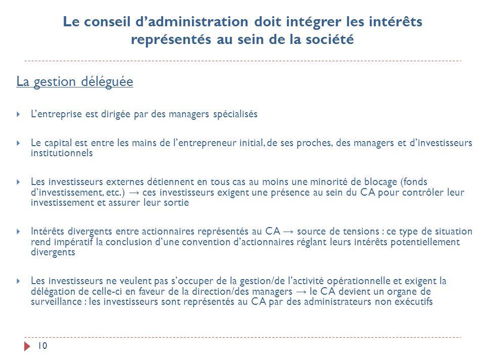 10 La gestion déléguée Lentreprise est dirigée par des managers spécialisés Le capital est entre les mains de lentrepreneur initial, de ses proches, d