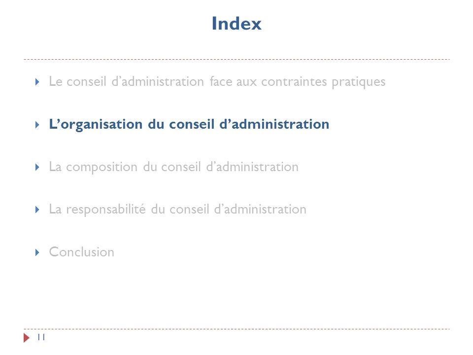 Index 11 Le conseil dadministration face aux contraintes pratiques Lorganisation du conseil dadministration La composition du conseil dadministration