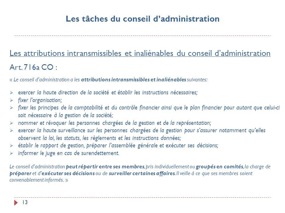 13 Les attributions intransmissibles et inaliénables du conseil dadministration Art. 716a CO : « Le conseil dadministration a les attributions intrans