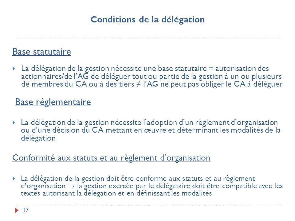 17 Base statutaire La délégation de la gestion nécessite une base statutaire = autorisation des actionnaires/de lAG de déléguer tout ou partie de la g