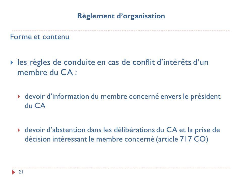 21 Forme et contenu les règles de conduite en cas de conflit dintérêts dun membre du CA : devoir dinformation du membre concerné envers le président d