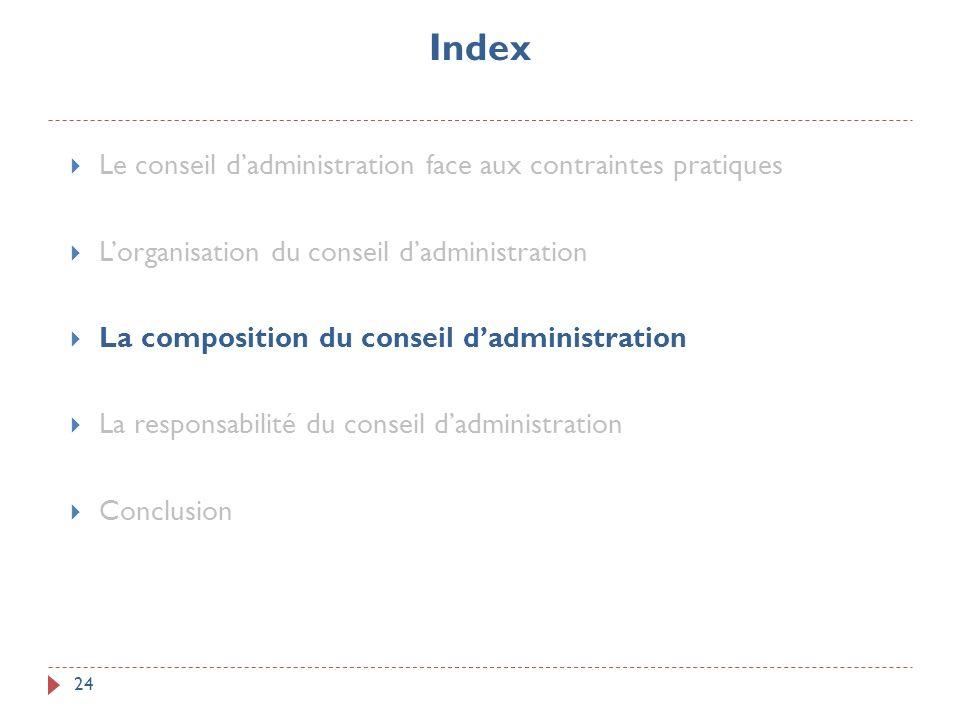 Index 24 Le conseil dadministration face aux contraintes pratiques Lorganisation du conseil dadministration La composition du conseil dadministration