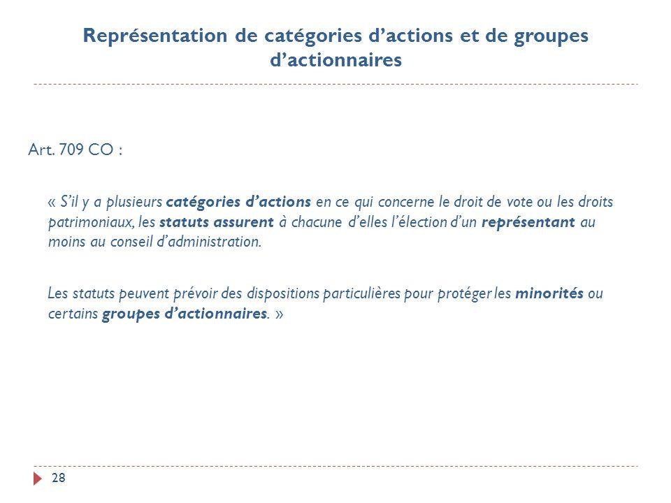 28 Art. 709 CO : « Sil y a plusieurs catégories dactions en ce qui concerne le droit de vote ou les droits patrimoniaux, les statuts assurent à chacun