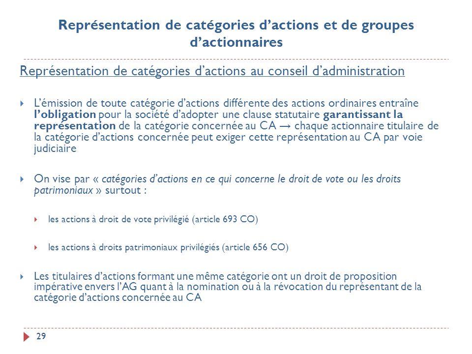 29 Représentation de catégories dactions au conseil dadministration Lémission de toute catégorie dactions différente des actions ordinaires entraîne l