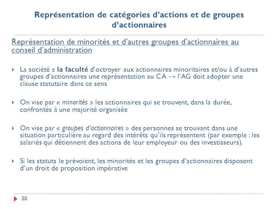 30 Représentation de minorités et dautres groupes dactionnaires au conseil dadministration La société a la faculté doctroyer aux actionnaires minorita