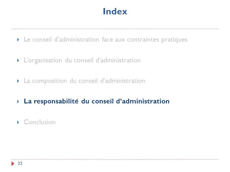 Index 33 Le conseil dadministration face aux contraintes pratiques Lorganisation du conseil dadministration La composition du conseil dadministration