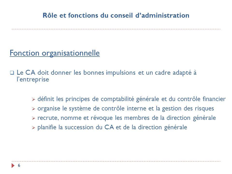 6 Fonction organisationnelle Le CA doit donner les bonnes impulsions et un cadre adapté à lentreprise définit les principes de comptabilité générale e