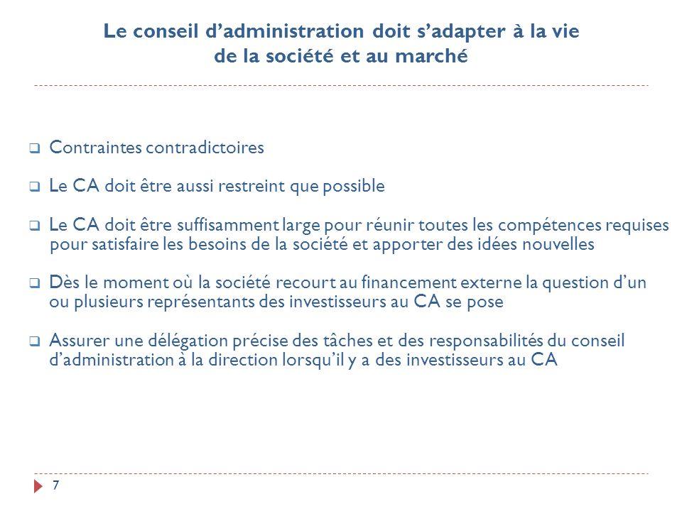 7 Contraintes contradictoires Le CA doit être aussi restreint que possible Le CA doit être suffisamment large pour réunir toutes les compétences requi