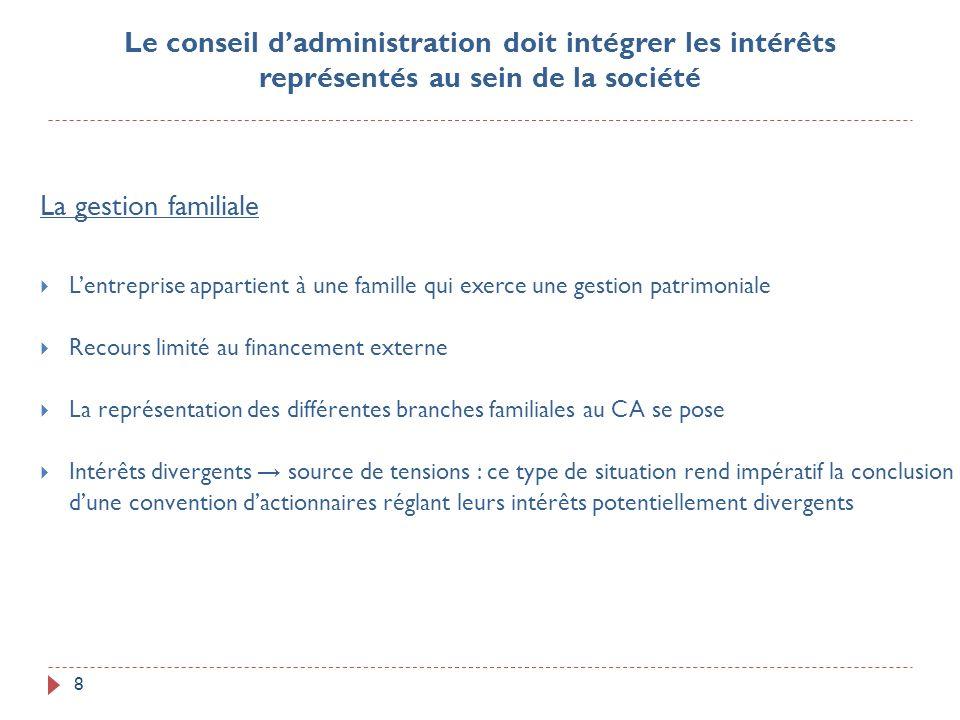 8 La gestion familiale Lentreprise appartient à une famille qui exerce une gestion patrimoniale Recours limité au financement externe La représentatio