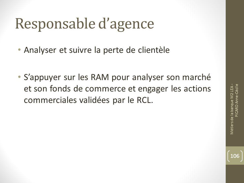 Responsable dagence Analyser et suivre la perte de clientèle Sappuyer sur les RAM pour analyser son marché et son fonds de commerce et engager les actions commerciales validées par le RCL.