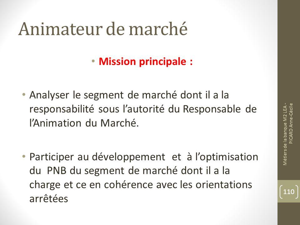 Animateur de marché Mission principale : Analyser le segment de marché dont il a la responsabilité sous lautorité du Responsable de lAnimation du Marché.