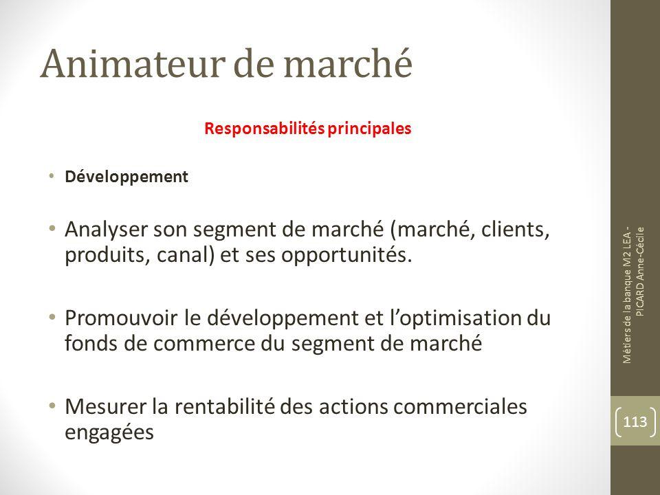 Animateur de marché Responsabilités principales Développement Analyser son segment de marché (marché, clients, produits, canal) et ses opportunités.