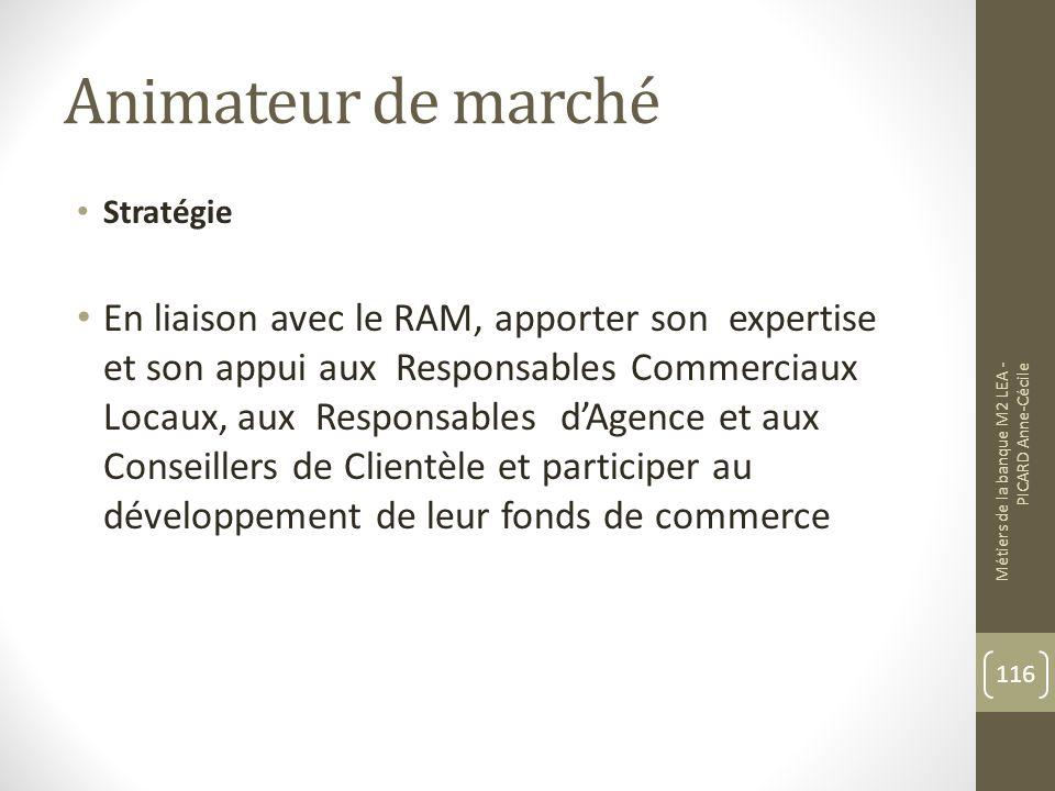 Animateur de marché Stratégie En liaison avec le RAM, apporter son expertise et son appui aux Responsables Commerciaux Locaux, aux Responsables dAgence et aux Conseillers de Clientèle et participer au développement de leur fonds de commerce Métiers de la banque M2 LEA - PICARD Anne-Cécile 116