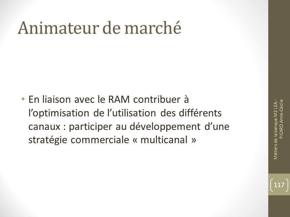 Animateur de marché En liaison avec le RAM contribuer à loptimisation de lutilisation des différents canaux : participer au développement dune stratégie commerciale « multicanal » Métiers de la banque M2 LEA - PICARD Anne-Cécile 117