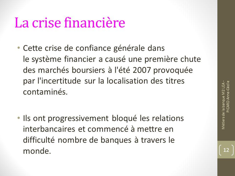 La crise financière Cette crise de confiance générale dans le système financier a causé une première chute des marchés boursiers à l été 2007 provoquée par l incertitude sur la localisation des titres contaminés.