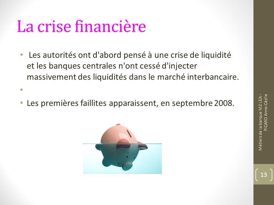 La crise financière Les autorités ont d abord pensé à une crise de liquidité et les banques centrales n ont cessé d injecter massivement des liquidités dans le marché interbancaire.