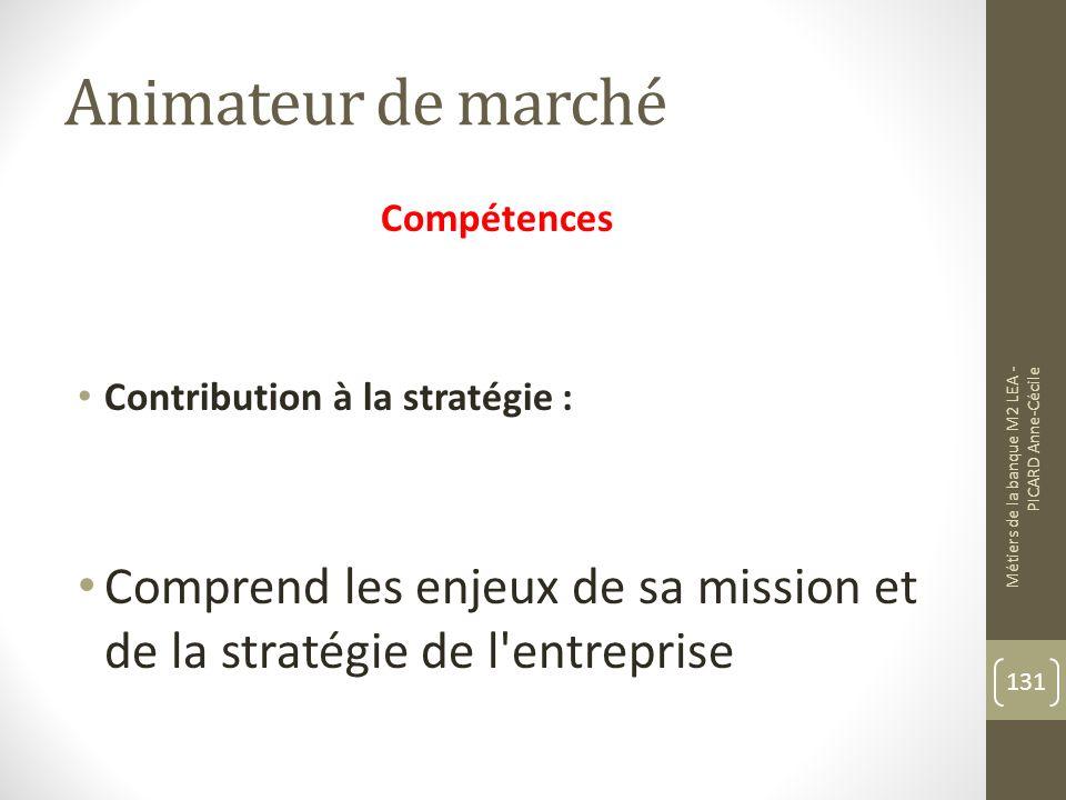 Animateur de marché Compétences Contribution à la stratégie : Comprend les enjeux de sa mission et de la stratégie de l entreprise Métiers de la banque M2 LEA - PICARD Anne-Cécile 131