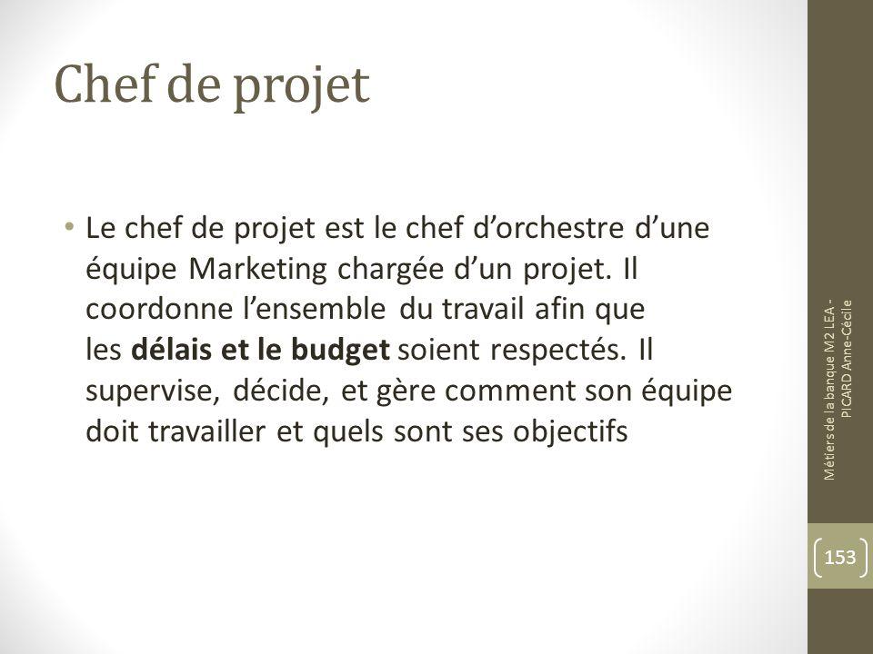 Chef de projet Le chef de projet est le chef dorchestre dune équipe Marketing chargée dun projet.