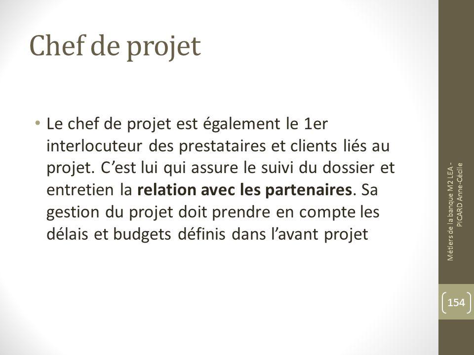 Chef de projet Le chef de projet est également le 1er interlocuteur des prestataires et clients liés au projet.