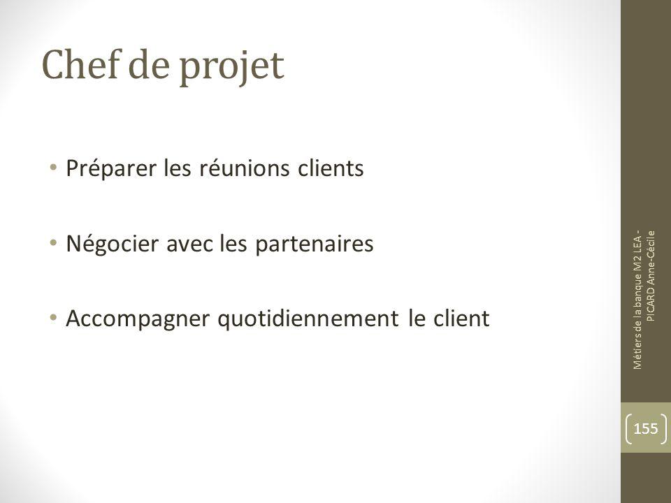 Chef de projet Préparer les réunions clients Négocier avec les partenaires Accompagner quotidiennement le client Métiers de la banque M2 LEA - PICARD Anne-Cécile 155