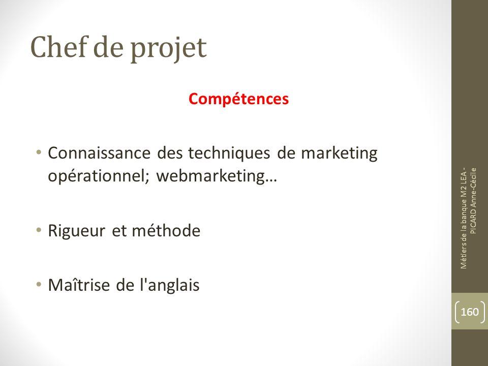 Chef de projet Compétences Connaissance des techniques de marketing opérationnel; webmarketing… Rigueur et méthode Maîtrise de l anglais Métiers de la banque M2 LEA - PICARD Anne-Cécile 160