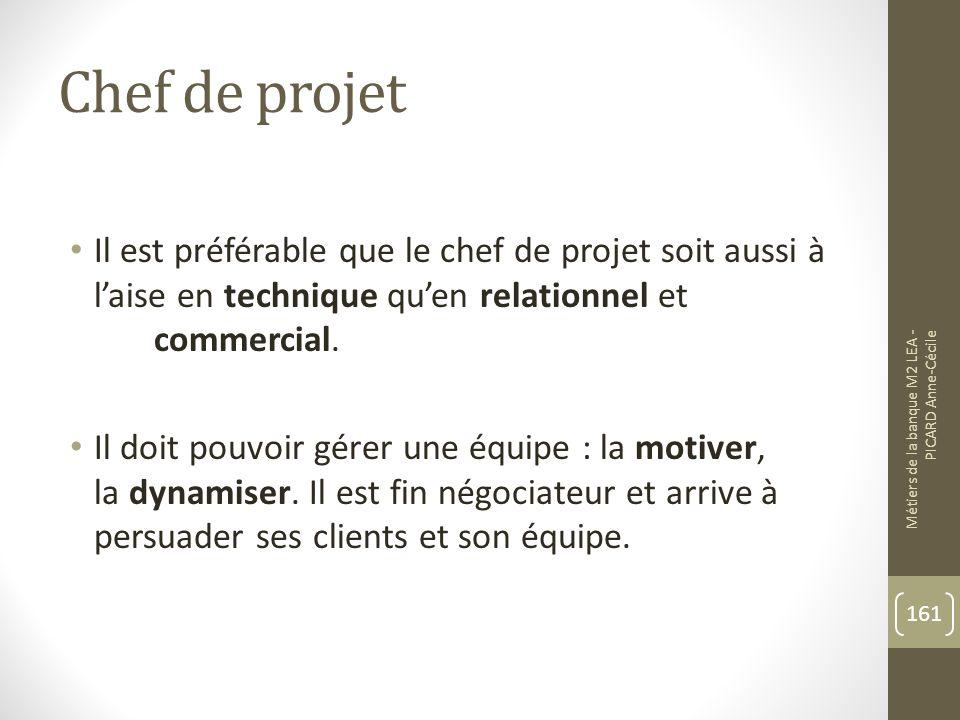 Chef de projet Il est préférable que le chef de projet soit aussi à laise en technique quen relationnel et commercial.