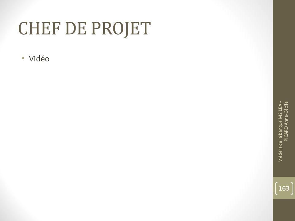 CHEF DE PROJET Vidéo Métiers de la banque M2 LEA - PICARD Anne-Cécile 163