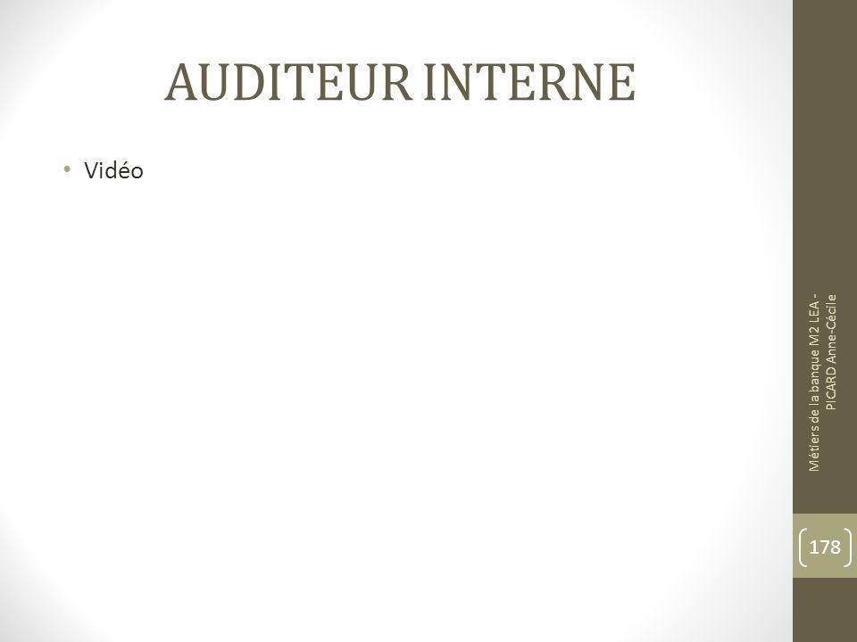 AUDITEUR INTERNE Vidéo Métiers de la banque M2 LEA - PICARD Anne-Cécile 178