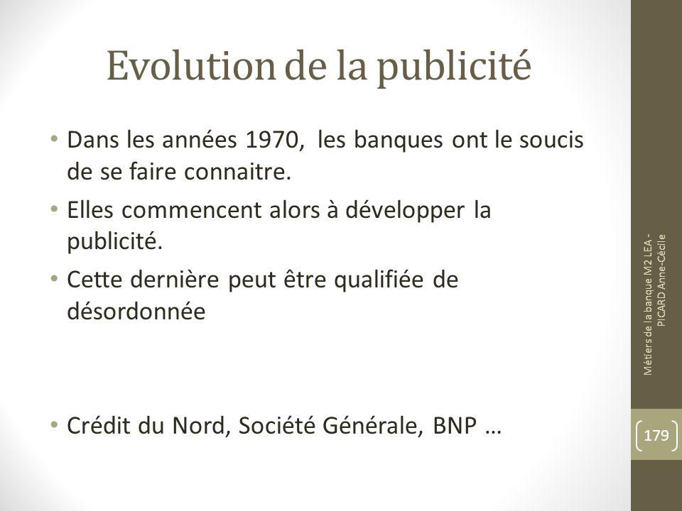 Evolution de la publicité Dans les années 1970, les banques ont le soucis de se faire connaitre.