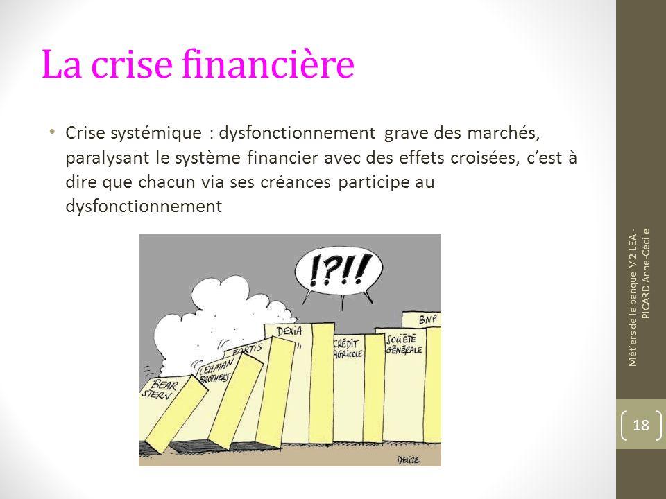 La crise financière Crise systémique : dysfonctionnement grave des marchés, paralysant le système financier avec des effets croisées, cest à dire que chacun via ses créances participe au dysfonctionnement Métiers de la banque M2 LEA - PICARD Anne-Cécile 18