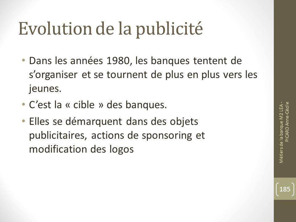 Evolution de la publicité Dans les années 1980, les banques tentent de sorganiser et se tournent de plus en plus vers les jeunes.