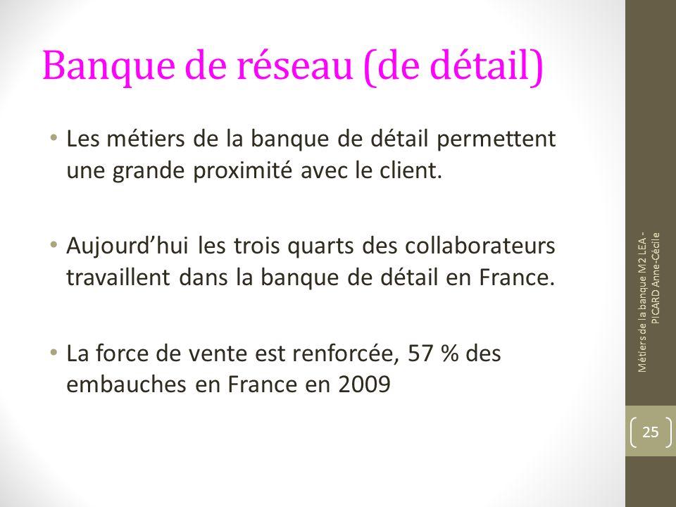 Banque de réseau (de détail) Les métiers de la banque de détail permettent une grande proximité avec le client.