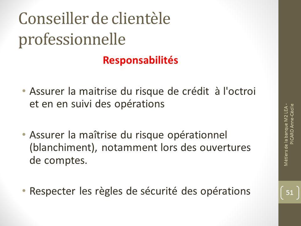 Conseiller de clientèle professionnelle Responsabilités Assurer la maitrise du risque de crédit à l octroi et en en suivi des opérations Assurer la maîtrise du risque opérationnel (blanchiment), notamment lors des ouvertures de comptes.