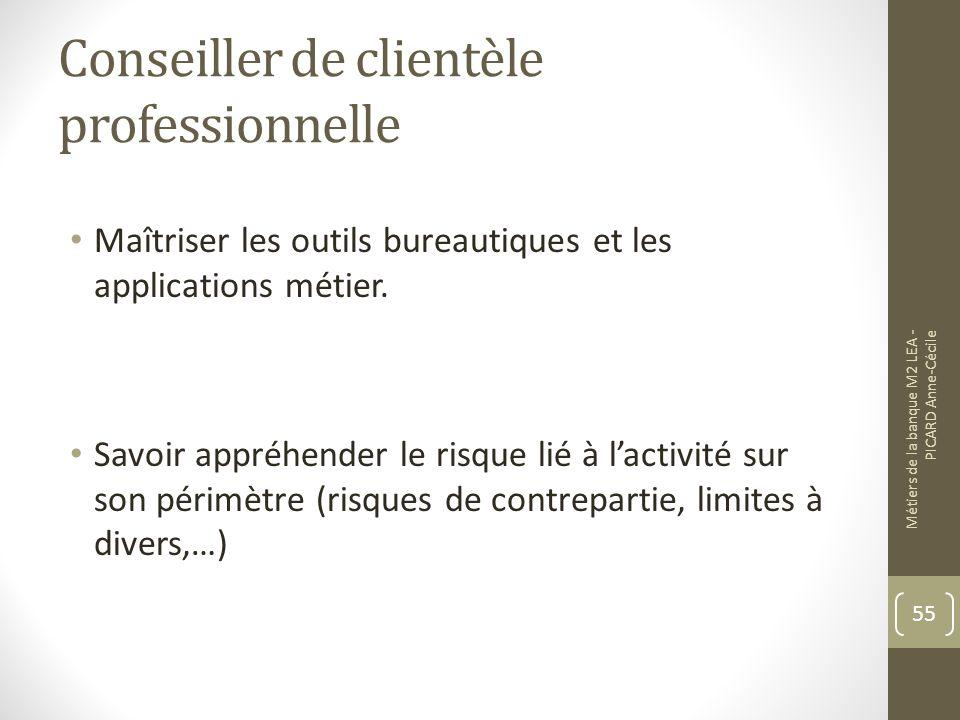 Conseiller de clientèle professionnelle Maîtriser les outils bureautiques et les applications métier.
