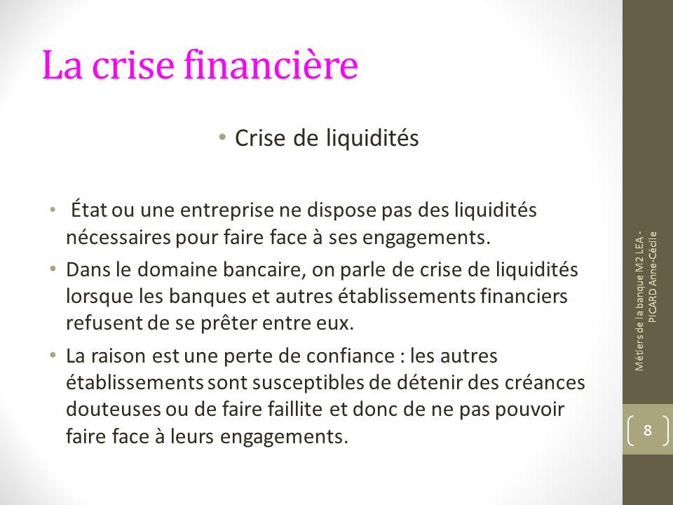 La crise financière Crise de liquidités État ou une entreprise ne dispose pas des liquidités nécessaires pour faire face à ses engagements.
