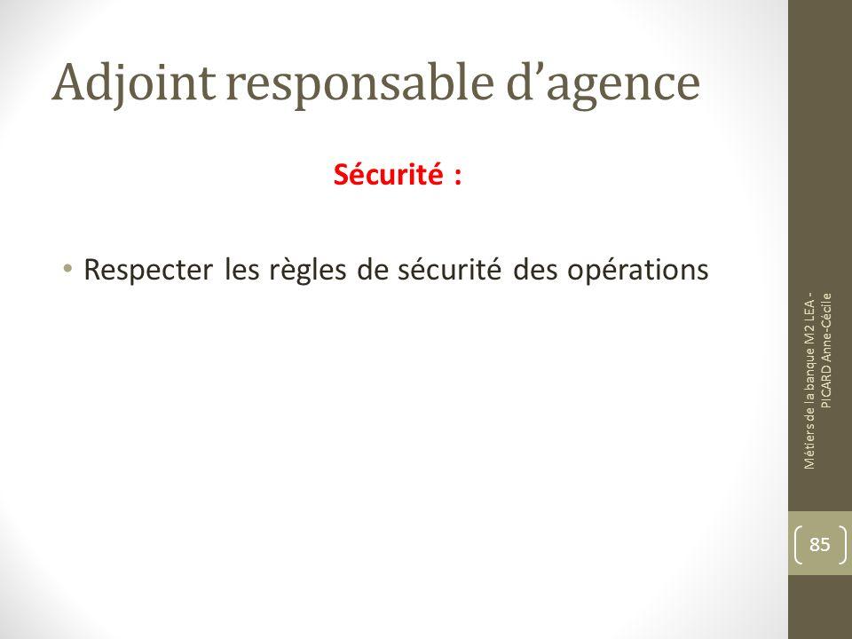 Adjoint responsable dagence Sécurité : Respecter les règles de sécurité des opérations Métiers de la banque M2 LEA - PICARD Anne-Cécile 85