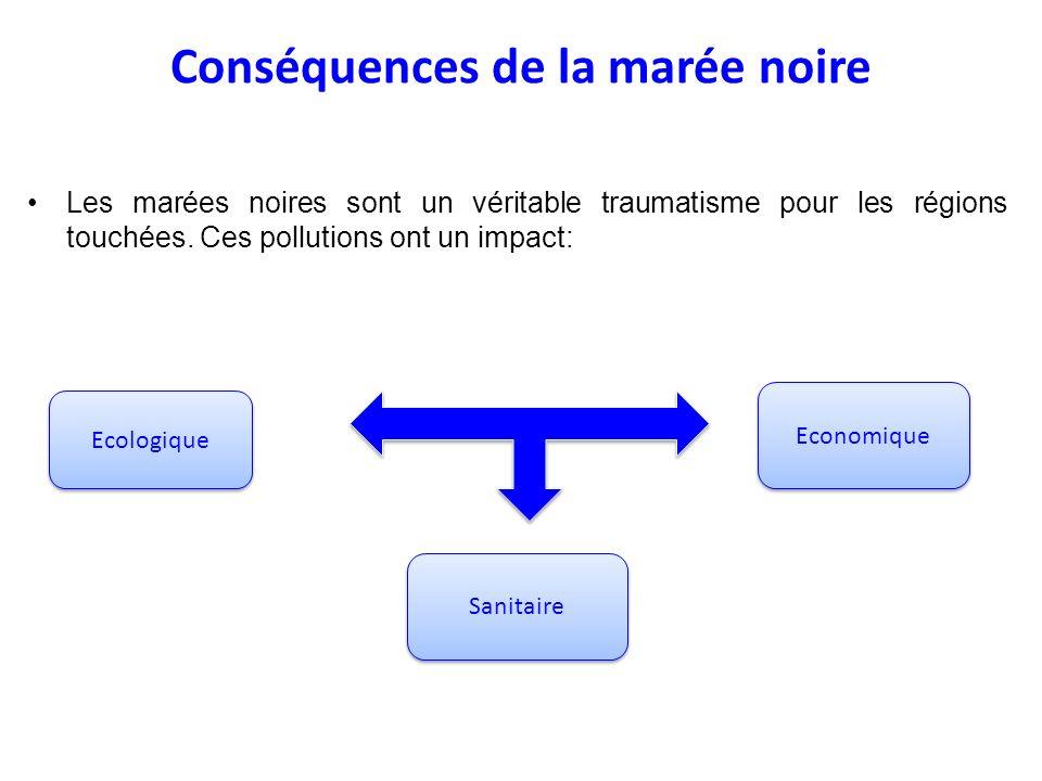 Conséquences de la marée noire Les marées noires sont un véritable traumatisme pour les régions touchées. Ces pollutions ont un impact: Ecologique Eco