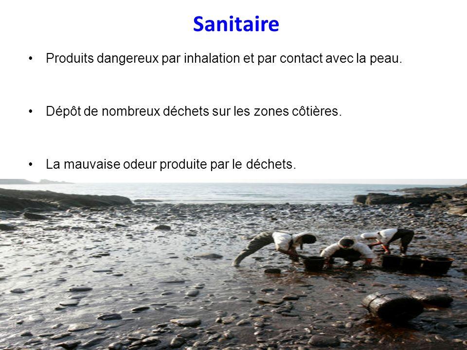 Sanitaire Produits dangereux par inhalation et par contact avec la peau. Dépôt de nombreux déchets sur les zones côtières. La mauvaise odeur produite