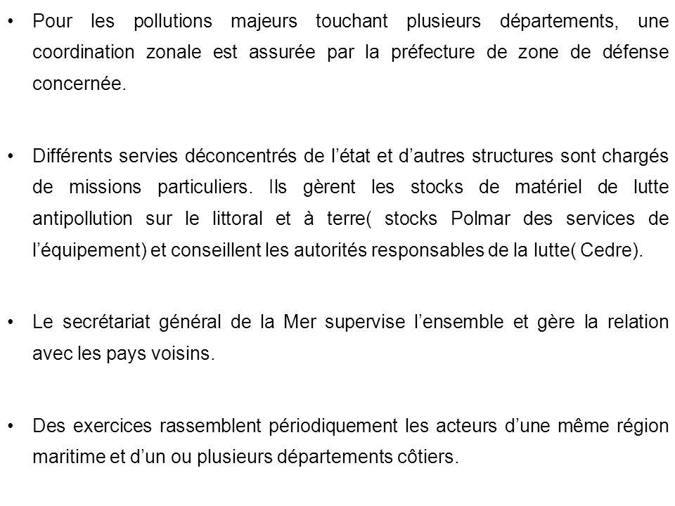 Pour les pollutions majeurs touchant plusieurs départements, une coordination zonale est assurée par la préfecture de zone de défense concernée. Diffé