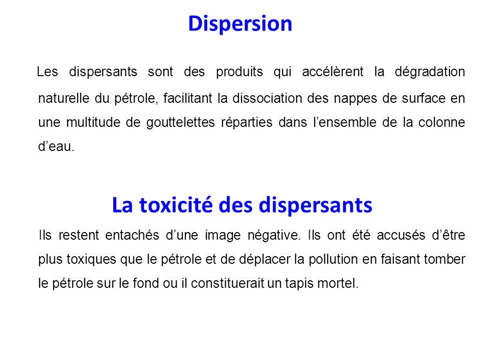 Dispersion Les dispersants sont des produits qui accélèrent la dégradation naturelle du pétrole, facilitant la dissociation des nappes de surface en u